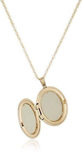 14k Gold-Filled Polished Oval Pendant with Genuine Diamond Locket Necklace, 18""