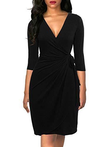 Berydress Women's Elegant Draped V Neck Knee Length Sheath Wedding Party Night Out Work Black Wrap Dress with 3/4 Sleeves (L, 6083-Black) - PRTYA