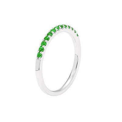 14K White Gold 1/5 Cttw Genuine Emerald Stackable 2MM Wedding Anniversary Band Ring - May Birthstone, Size 5.5
