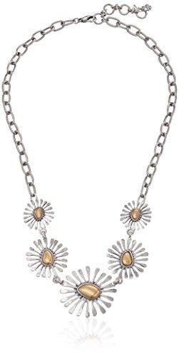 "Lucky Brand Women's Floral Collar Necklace Two-Tone Chain Necklace 20"" + 2' Extender"