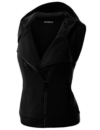 Doublju Womens Hooded Zip-Up Vest with Zipper Detail and Plus Size Black Small - PRTYA