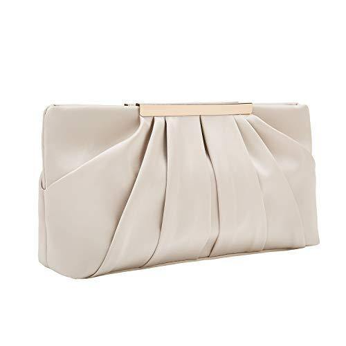 Charming Tailor Clutch Evening Bag Elegant Pleated Satin Formal Handbag Simple Classy Purse for Women (Champagne)