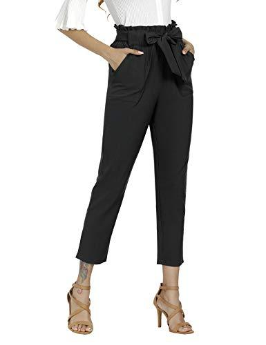 Freeprance Women's Pants Casual Trouser Paper Bag Pants Elastic Waist Slim Pockets XBK_M Black
