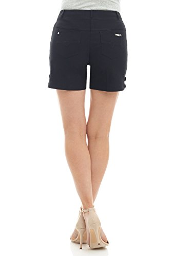 Rekucci Women's Ease into Comfort Stretchable Pull-On 5 inch Slimming Tab Short (8,Black)