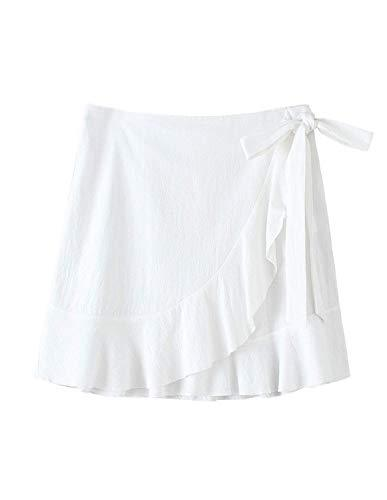 ChainJoy Womens High Waist Ruffle Hem Tie Wrap Skirt Summer Casual A Line Overlap Skirt - PRTYA