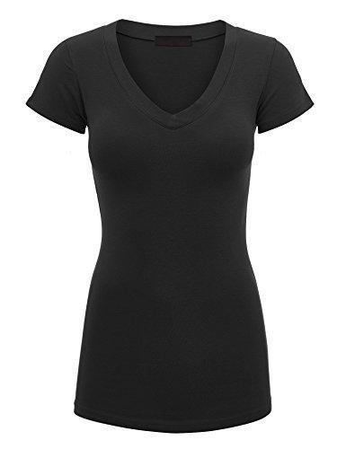 Lock and Love LL WT1606 Womens Basic Fitted Short Sleeve V-Neck T Shirt S Black