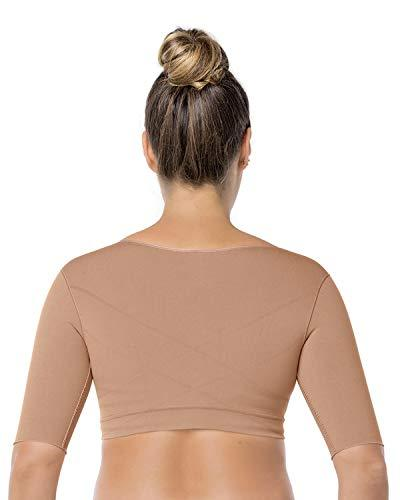 Leonisa Seamless Upper Arm Shaper Slimming Compression Vest with Posture Corrector, Beige, X-Large