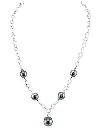 THE PEARL SOURCE 8-9mm Genuine Baroque Black Tahitian South Sea Cultured Pearl Necklace for Women