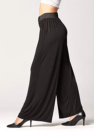 Palazzo Pants with Pockets for Women - Many Colors and Prints - High Waisted Wide Legged - Solid Black - One Size - 715854664499