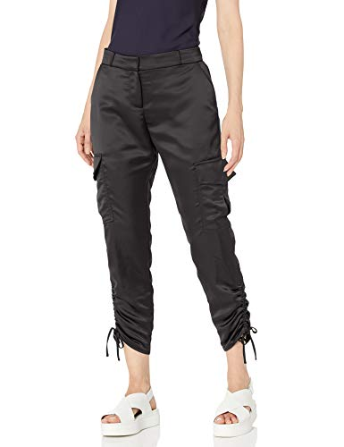Parker Women's Emerson Fixed Waist Drappy Cargo Pant, Black, 8