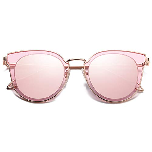 SOJOS Fashion Round Polarized Sunglasses for Women UV400 Mirrored Lens SJ1057 with Rose Gold Frame/Pink Mirrored Lens