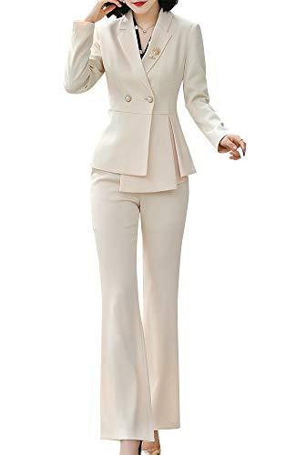 LISUEYNE Women's 2 Pieces Office Blazer Suit Slim Fit Work Suits for Women Blazer Jacket,Pant/Skirt Suits (BB56-ApricotKZ, Small)
