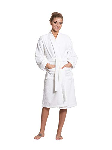 Turkuoise Women's Terry Cloth Robe Turkish Cotton Terry Kimono Collar (Large/One Size, White)