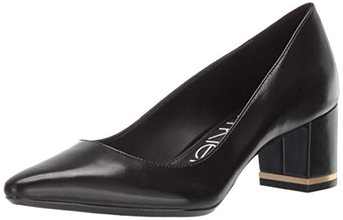 Calvin Klein Women's NITA Pump, Black Leather, 10 M M US