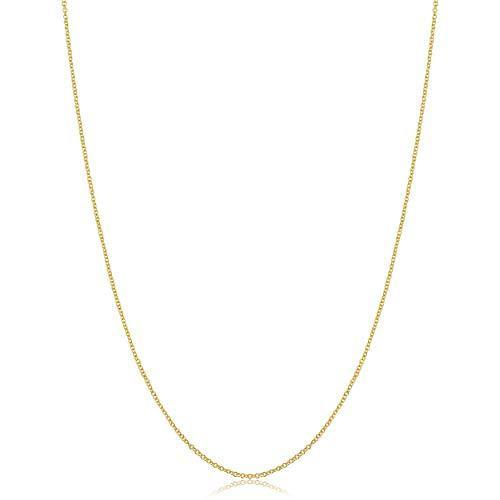 KoolJewelry 14k Yellow Gold Filled Cable Chain Necklace (1 mm, 18 inch)