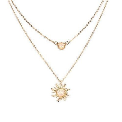 HUNO Double Chains Moon and Sun Layered Choker Necklace Sunflower Opal Pendant Necklace Gift for Women-Gold Sun
