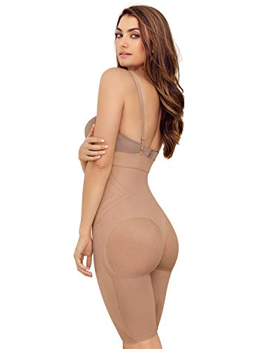 Leonisa Womens Seamless High Waist Shapewear with Thigh Compression,Beige,Medium
