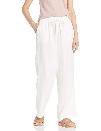 Amazon Essentials Women's Drawstring Linen Wide Leg Pant, White, S Regular - PRTYA
