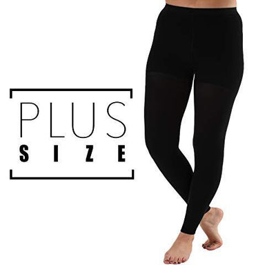 3XL Woman's Plus Size Compression Leggings Graduated Support Stockings 20-30 mmHg, Tummy Control Top - Absolute Support - 1 Pair - for Edema, Varicose veins | Sku: A717BL6 - Black, Size XXXL - PRTYA