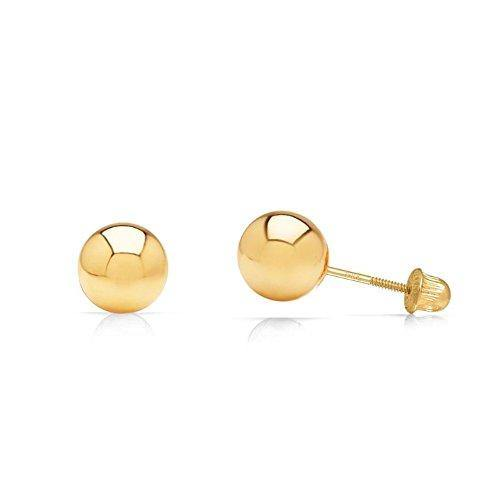 14k Yellow Gold Ball Stud Earrings with Secure and Comfortable Screw Backs (4mm)