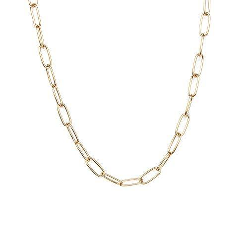 14K Gold Plated Dainty Paperclip Link Chain Necklace for Women Girls Long Chain Statement Choker