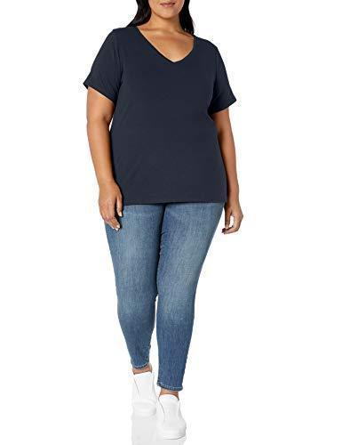 Amazon Essentials Women's Plus Size Short-Sleeve V-Neck T-Shirt, Navy, 6X - PRTYA