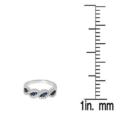 Dazzlingrock Collection 10K Blue Sapphire & White Diamond Bridal Swirl Anniversary Wedding Band, White Gold, Size 4.5