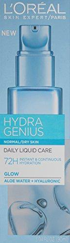 Hyaluronic Acid Moisturizer for Face, L'Oreal Paris Skincare Hydra Genius Daily Liquid Care Oil-Free Face Moisturizer for Normal to Dry Skin with Aloe Water and Hyaluronic, 3.04 fl. oz.