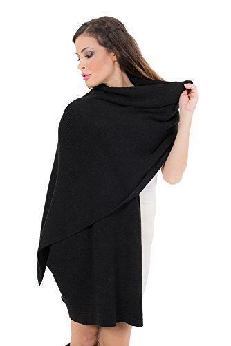 KROWN Cashmere Shawls for Women, Super Soft Lambs Wool Pashmina Shawl for Cold Weather, Extra Large Knitted Cashmere Wraps for Winter, Black