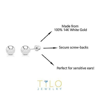 14k White Gold Ball Stud Earrings with Secure Screw-backs (3mm)