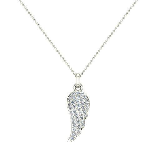 Angel Wings 14K white gold Diamond Necklaces for women-girls Charm w/o Chain Gift Box Authenticity Cards (G, VS)