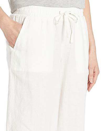 Amazon Essentials Women's Solid Drawstring Linen Crop Pant, White, M - PRTYA
