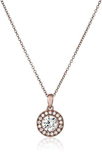 Rose Gold Plated Sterling Silver Halo Pendant Necklace set with Round Cut Swarovski Zirconia, 16""