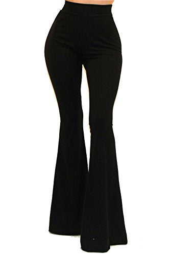 Vivicastle Women's Boho Solid Hippie Wide Leg Flared Bell Bottom Pants (Large, Black)