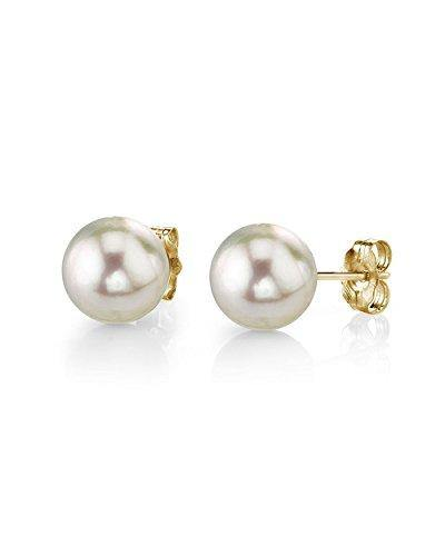 THE PEARL SOURCE 14K Gold 7-7.5mm AAA Quality Round White Cultured Akoya Stud Pearl Earrings for Women