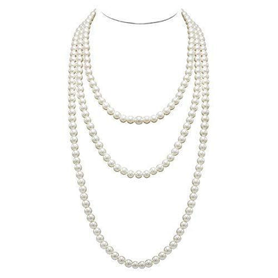 T-Doreen Cream Long Pearl Necklace for Women Girls 69 Inch Layered Strands Necklace