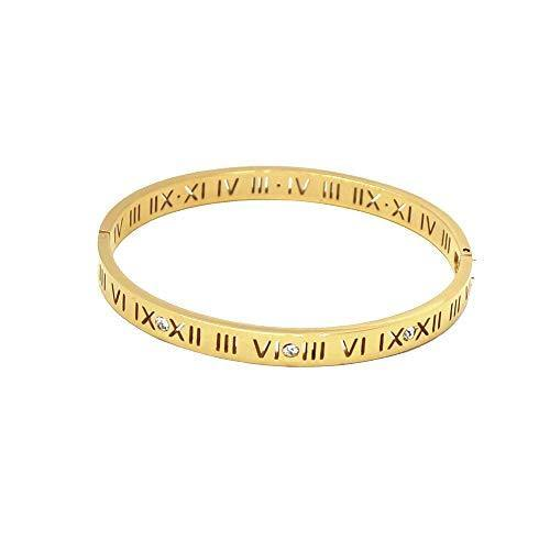 Baoli Zircon Jewelry Roman Numerals Bangle Bracelet for Women (Yellow Gold)