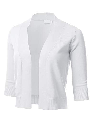 Women's Classic 3/4 Sleeve Open Front Cropped Cardigan White L