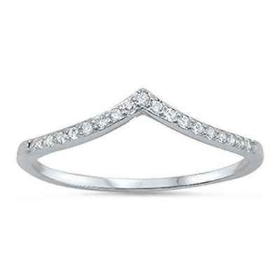 Oxford Diamond Co New V-Shape Cubic Zirconia Band .925 Sterling Silver Ring Sizes 5