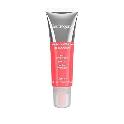 Neutrogena MoistureShine Lip Soother Gloss with SPF 20 Sun Protection, High Gloss Tinted Lip Moisturizer with Hydrating Glycerin and Soothing Cucumber for Dry Lips, Glaze 60,.35 oz