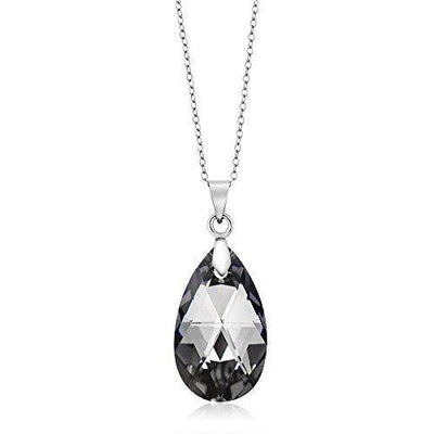 Gem Stone King Nirano Collection Black Tear Drop Pendant Made with Swarovski Crystals