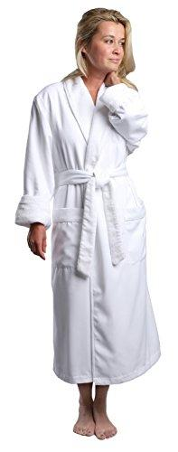 MONARCH Plush Lined Microfiber Spa Robe - Unisex Luxury Hotel Bathrobe in White/Large Cypress