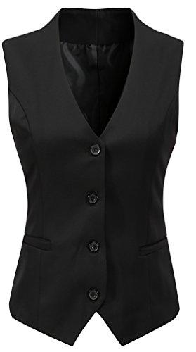 Foucome Women's Formal Regular Fitted Business Dress Suits Button Down Vest Waistcoat Black US M - Tag 2XL
