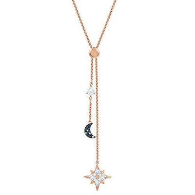 SWAROVSKI Women's Symbolic Star Moon Y Necklace, Multi-Colored Crystal, Rose-Gold Tone Plated, One Size (5494357)