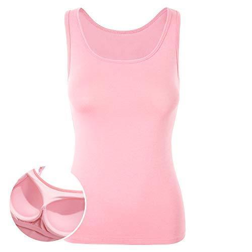 DYLH Bra Top for Women Tank Built in Shelf Bra Camisole Athletic Vest Dressy Shirt Pink XL - PRTYA