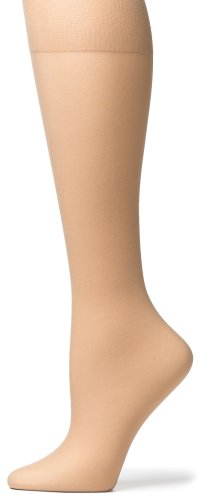 No Nonsense Women's Knee High Pantyhose with Sheer Toe, 10 Pair Value Pack, Nude, One Size
