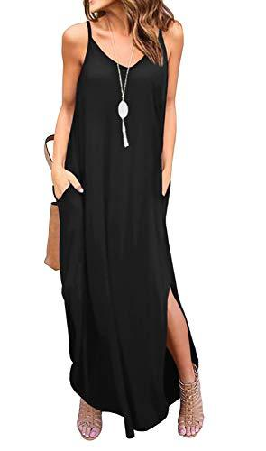 GRECERELLE Women's Summer Casual Loose Dress Beach Cover Up Long Cami Maxi Dresses with Pocket Black-L