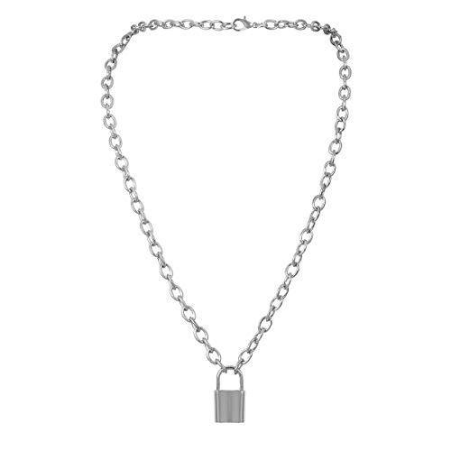 7th Moon Lock Pendant Necklace Statement Long Chain Punk Multilayer Choker Necklace for Women Girls (Silver)