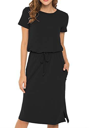 Women's Plain Short Sleeve Casual Pockets Modest Midi Dress with Belt Black L