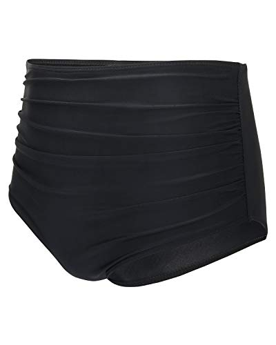 Tempt Me Women Retro High Waist Bikini Bottom Ruched Swim Brief Short Black L
